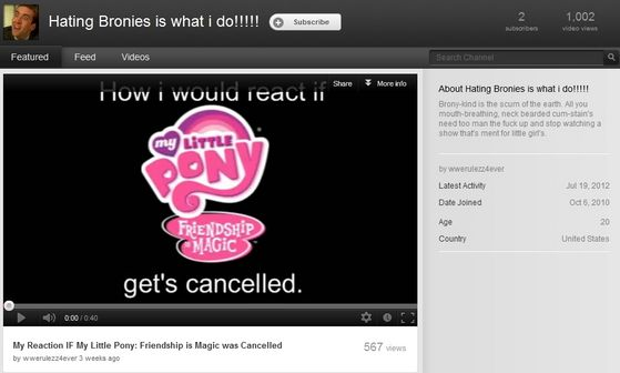 A channel on youtube which purpose is to hate MLP and its bronies