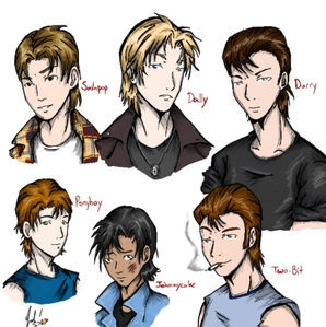 see that boy on the bottom left hand corner? thats Ponyboy. and now, whenever i think of him i think of that image. not Tommy Howell...at least, not anymore. but doesnt the drawn picture look so close? i think it does