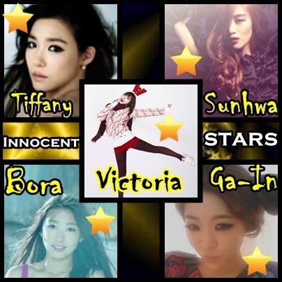 Name:Innocent STARS Members: Victoria: Leader, Main dancer, Vocalist Tiffany: Main vocalist Sunhwa: