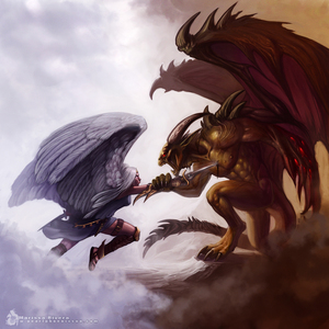 here ángeles and demons are at war. rules ask if your going to kill cursing...you know already no tro