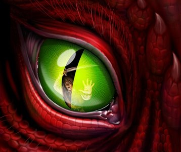 Green eye of a red dragon :>