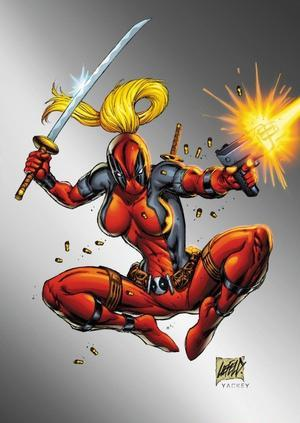 Lady Deadpool. She's basically Deadpool, but with blonde hair... and boobs.