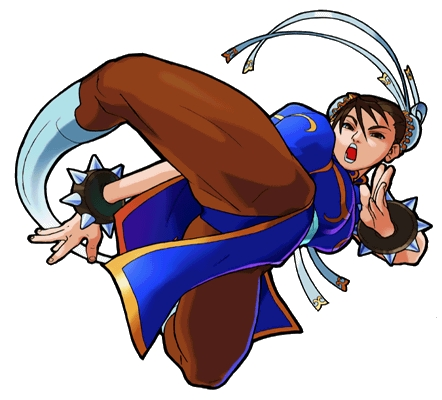 Here's Chun-Li from Marvel Super heroes Vs. calle Fighter. What's up with her leg? Is it made of ru