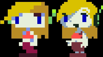 Here's Curly's in-game sprite, both the original and the new one.