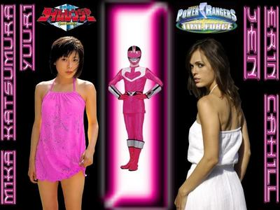 Here's both of the actors who played the rosado, rosa Ranger in Mirai Sentai Timeranger and Power Rangers Tim