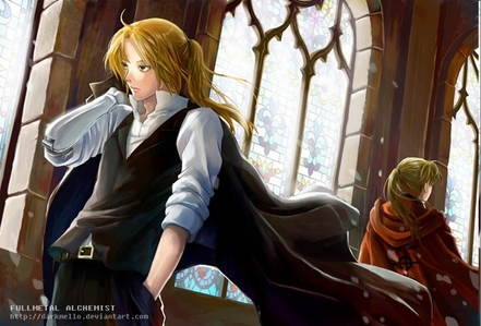The clothes Edward have in conqueror of shamballa are cool.<br /> Plus Alphonse is wearing the cool r