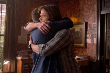 """A brotherly hug between Dean and Sam"""