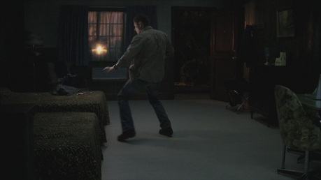 "[i] ""Dean fighting a fairy."" [/i]"