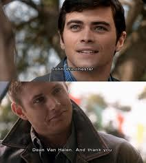 """Dean Winchester with young John Winchester"""
