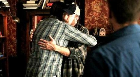 """[i]A hug between Sam and Bobby[/i]"""