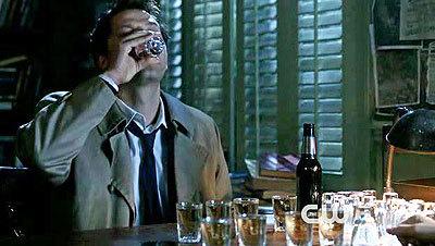 Castiel drinking beer