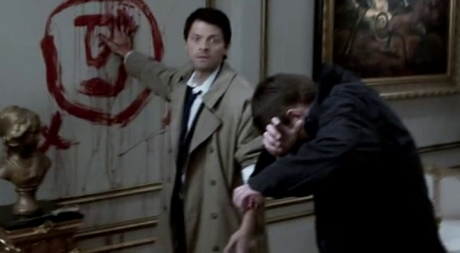 Cas drawing angel-throw out sign...