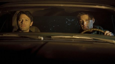 dean and castiel in the impala