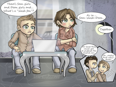 Haha I saw this one the other day, I pag-ibig it: A tagahanga comic with Sam, Dean and Cas.