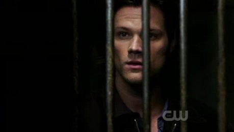 Sam looking through metal bars