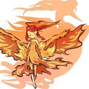 *a young girl with red hair and wings walks up to brock*