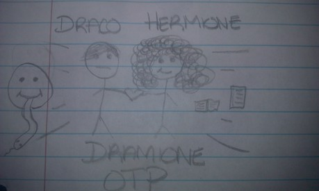 I worked really hard on these stick people versions of Draco and Hermione. LOL xD
