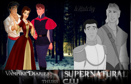 Left to right: Vampire diaries: Eric= Damon<3, Belle= Elena, Phillip= Stefan. Supernatural: Charmin