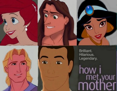 Mine :) Ariel as Lily, Tarzan as Marshall, jasmin as Robin, John as Barney, Prince Charming as Ted.
