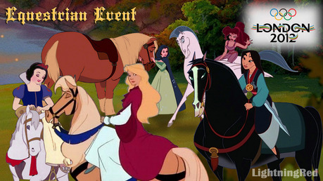 Olympic Equestrian Event. Snow White and Odette are representing Germany, Belle France, Mulan Chin