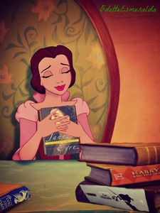 Belle with all her favorites; Jane Eyre, Les Misarables, Harry Potter and, of course, Grimm's Fairy T