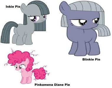 Kiss : Fancypants Hug : Trixie Slap : Photo Finish  Inkie Pie, Blinkie Pie, and Pinamena Diane Pi