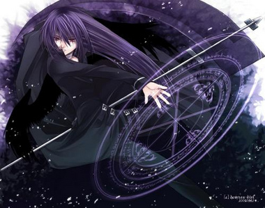 a dark blue portal opens above lily and a medium sized purple haired man falls on her pinning her to