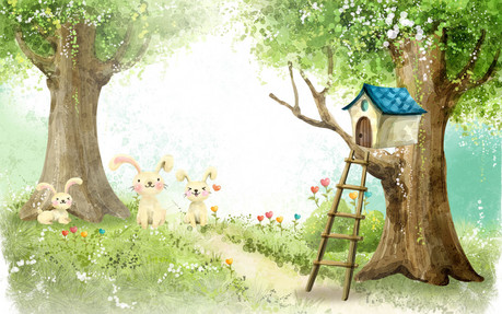 Cute tree house with bunnies in the midst of a beautfiful sunlit garden... I love this picture the fi