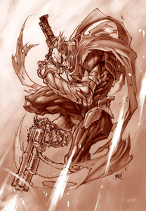 Samuel puts on armor that looks like this. And creates the guns as well.