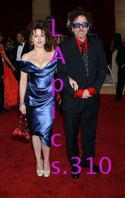 Tim Burton (right) and his wife, Helena Bonham Carter (left)  Again, please ignore the lettering. Did