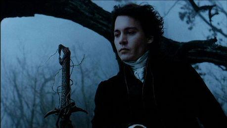 Ichabod Crane, Johnny Depp, with the mysterious darkening dusk as background... beautiful. Seems so p