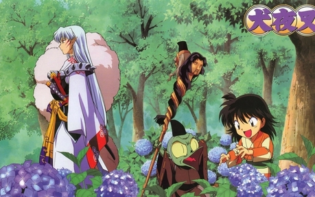 Look at this photo with Sesshy,Jaken and Rin in a garden