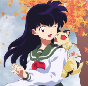 Kagome look cute and happy both.