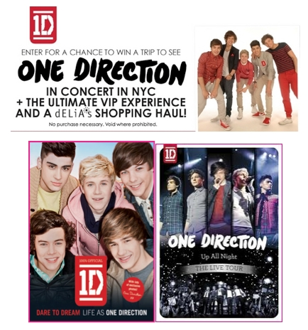 Sign up to win a free trip to new york city to meet one direction hey directioners delias is giving you and three friends a chance to see m4hsunfo