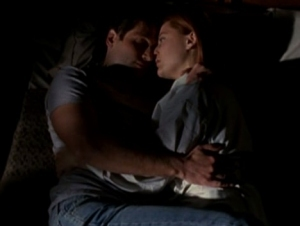 Is he asleep here? next: Scully and Mulder holding hands :)