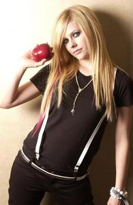Avril with an epal, apple :)