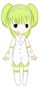 Vocaloid Name: Kagatsune Leiku  Gender: Female  Age: 7  Number: 12  Hair Color and Style: a mix betwe
