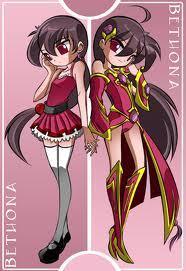 Vocaloid Name: Bethona Maiku (Right) Bethona Meigu (Left) . Twins . Gender: Female Age: 13 Number: 03