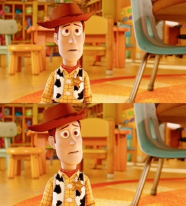 Woody! <3 Next, find a picture of any Pixar movie poster.