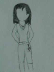 Name: Asea (Drawing below) sorry not good at faces: कमीज, शर्ट is black with white tank underneath pants