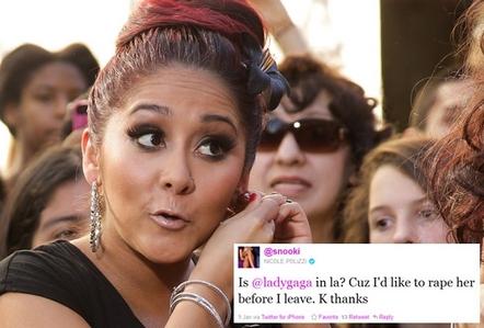 A bizarre 'rape' tweet from pint-sized reality blip Nicole 'Snooki' Polizzi has caused a ripp