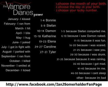 "Mine is: ""I bite Stefan because i saw Damon naked."""