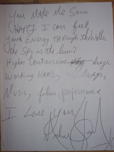 On November 10, 2008, Michael Jackson sent a note to his fans that were gathered in front of his rent