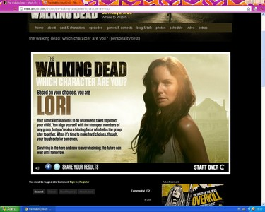 ciao :D I found new personality test about Walking Dead ^^ so who are you? I'm Lori :P http://www.a