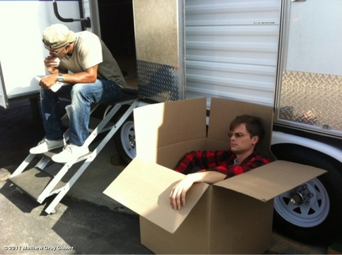 """me in a box while shemar eats a burrito"""