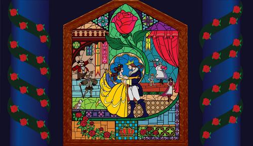 Beauty and the Beast wallpaper possibly with a stained glass window and anime called Beauty and the Beast
