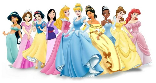 DP Lineup with Poca in ballgown and Tiana in blue