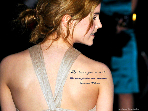"Emma Watson- ""The less u reveal the meer people can wonder."""