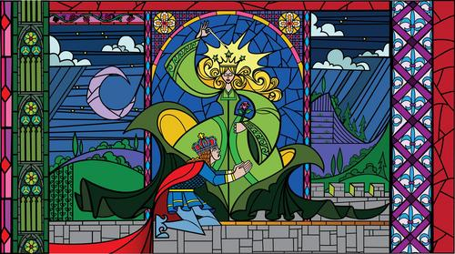 Die Schöne und das Biest Hintergrund with a stained glass window and Anime titled Enchantress