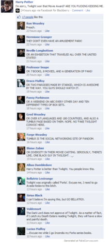 Facebook Convo: Twilight won the movie award?
